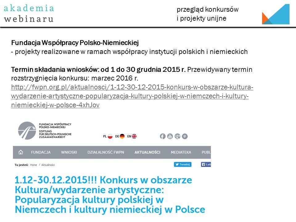 przegląd konkursów i projekty unijne Fundacja Współpracy Polsko-Niemieckiej - projekty realizowane w ramach współpracy instytucji polskich i niemieckich Termin składania wniosków: od 1 do 30 grudnia 2015 r.