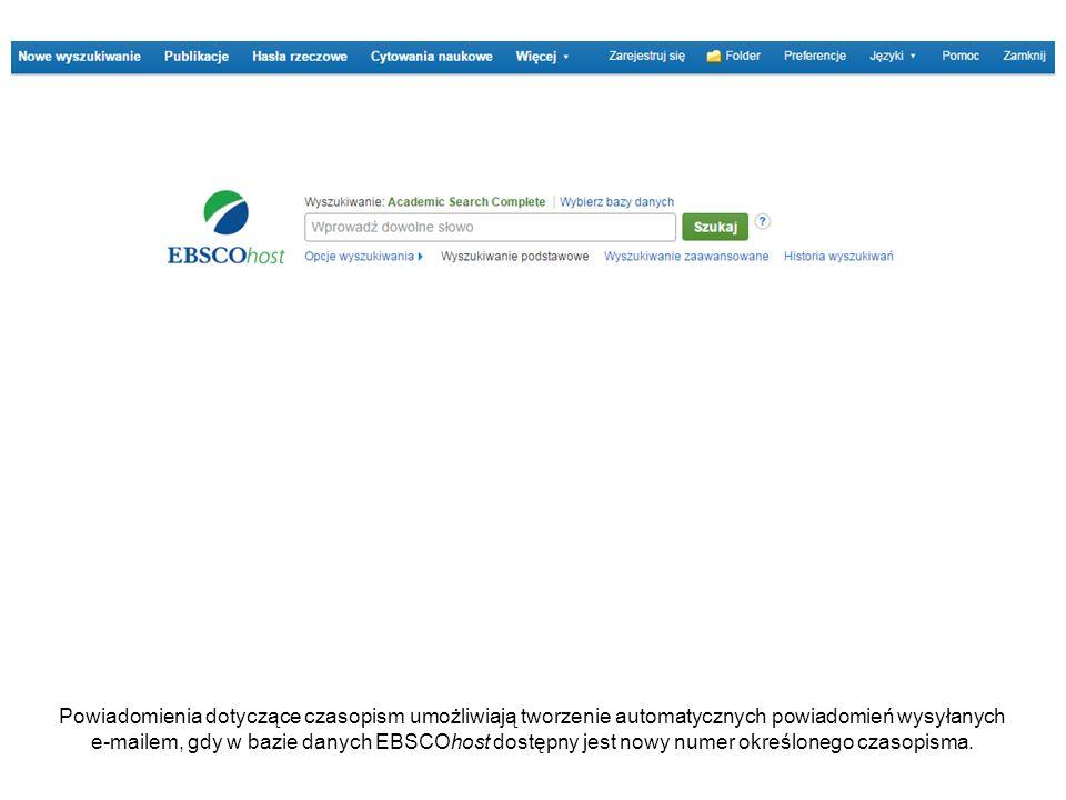 Aby utworzyć powiadomienie dotyczące czasopisma, musisz się zalogować do swojego spersonalizowanego konta My EBSCOhost.