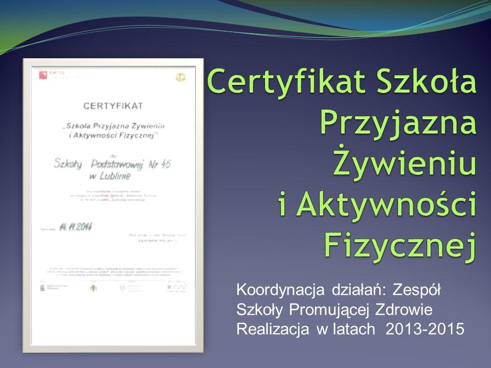 Koordynacja działań: Zespół Szkoły Promującej Zdrowie Realizacja w latach 2013-2015