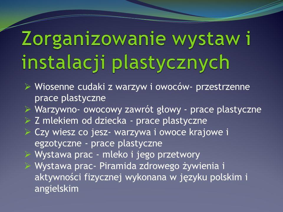  Wiosenne cudaki z warzyw i owoców- przestrzenne prace plastyczne  Warzywno- owocowy zawrót głowy - prace plastyczne  Z mlekiem od dziecka - prace plastyczne  Czy wiesz co jesz- warzywa i owoce krajowe i egzotyczne - prace plastyczne  Wystawa prac - mleko i jego przetwory  Wystawa prac- Piramida zdrowego żywienia i aktywności fizycznej wykonana w języku polskim i angielskim