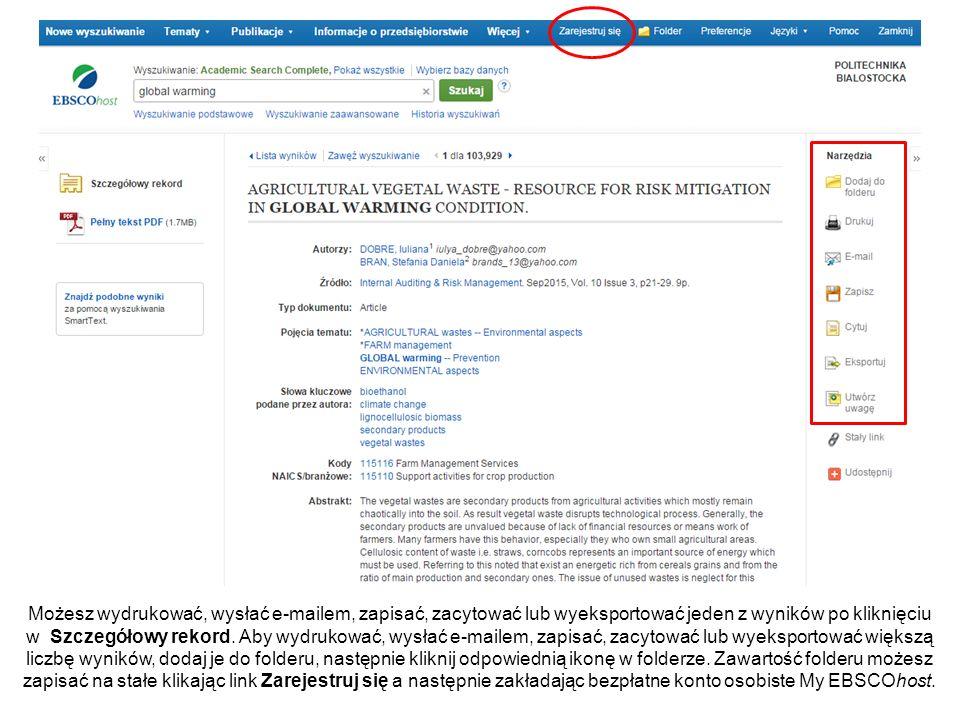 Możesz wydrukować, wysłać e-mailem, zapisać, zacytować lub wyeksportować jeden z wyników po kliknięciu w Szczegółowy rekord.