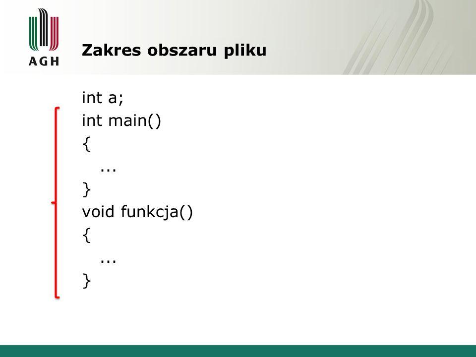Zakres obszaru pliku int a; int main() {... } void funkcja() {... }