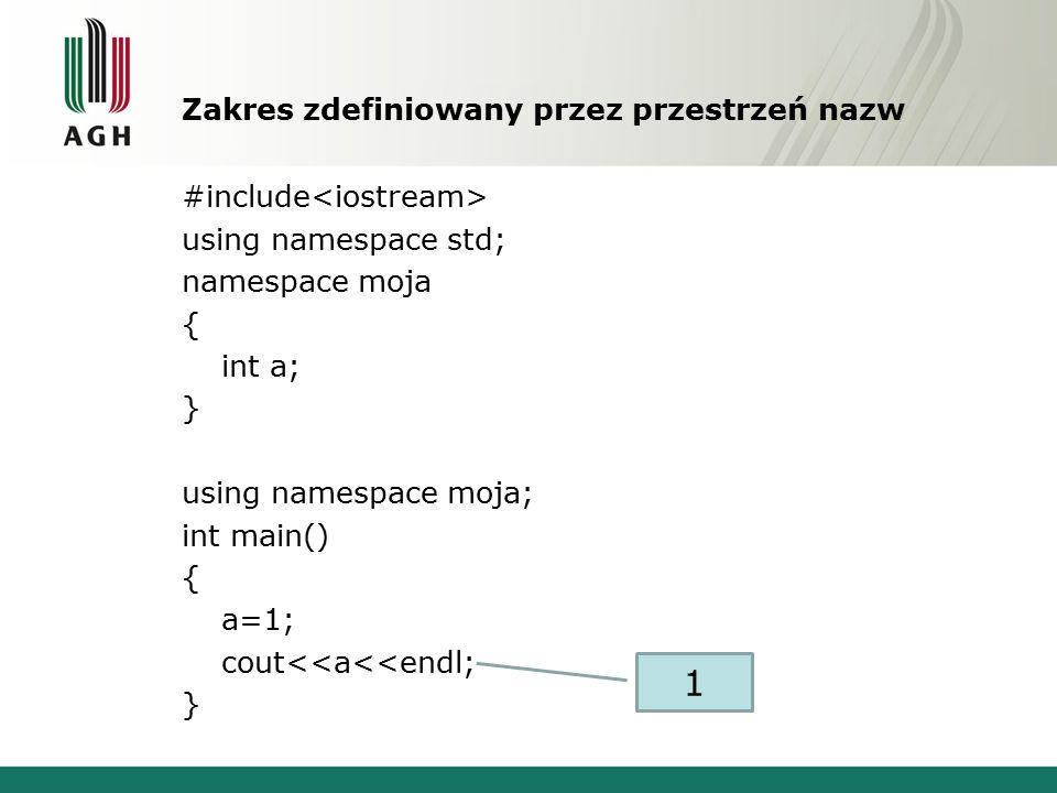 Zakres zdefiniowany przez przestrzeń nazw #include using namespace std; namespace moja { int a; } using namespace moja; int main() { a=1; cout<<a<<endl; } 1