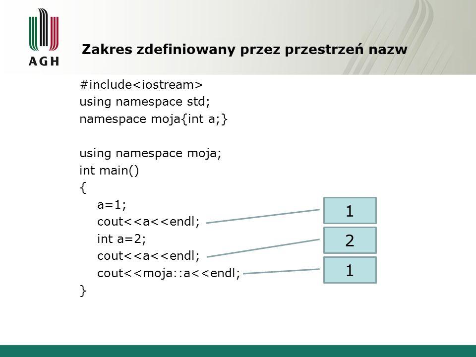 Zakres zdefiniowany przez przestrzeń nazw #include using namespace std; namespace moja{int a;} using namespace moja; int main() { a=1; cout<<a<<endl; int a=2; cout<<a<<endl; cout<<moja::a<<endl; } 1 2 1