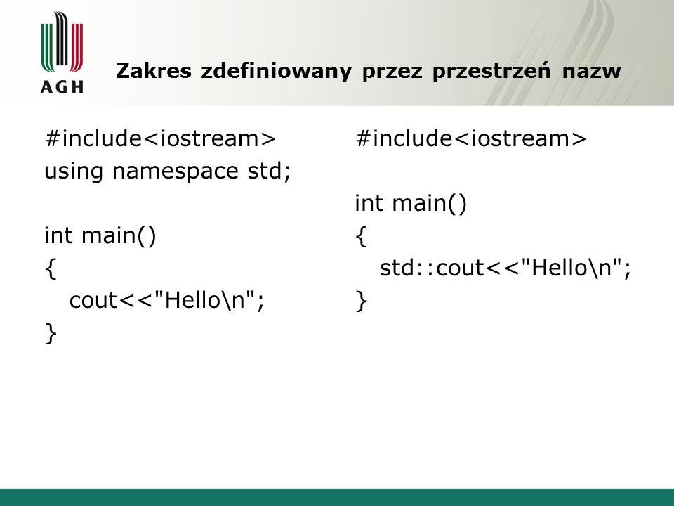 Zakres zdefiniowany przez przestrzeń nazw #include using namespace std; int main() { cout<< Hello\n ; } #include int main() { std::cout<< Hello\n ; }