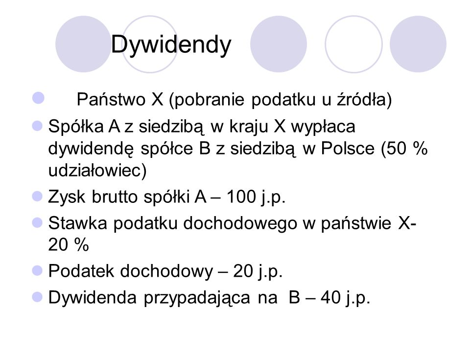 Dywidendy Państwo X (pobranie podatku u źródła) Spółka A z siedzibą w kraju X wypłaca dywidendę spółce B z siedzibą w Polsce (50 % udziałowiec) Zysk brutto spółki A – 100 j.p.