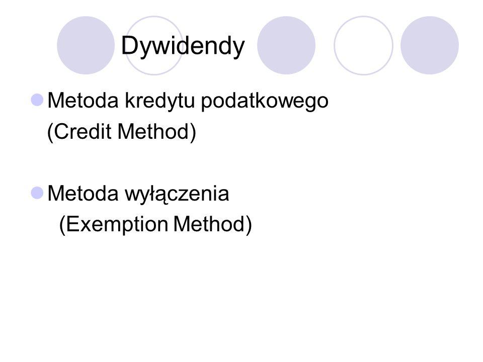 Metoda kredytu podatkowego (Credit Method) Metoda wyłączenia (Exemption Method)