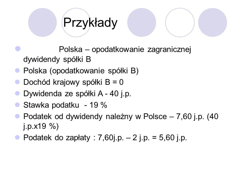 Przykłady Polska – opodatkowanie zagranicznej dywidendy spółki B Polska (opodatkowanie spółki B) Dochód krajowy spółki B = 0 Dywidenda ze spółki A - 40 j.p.