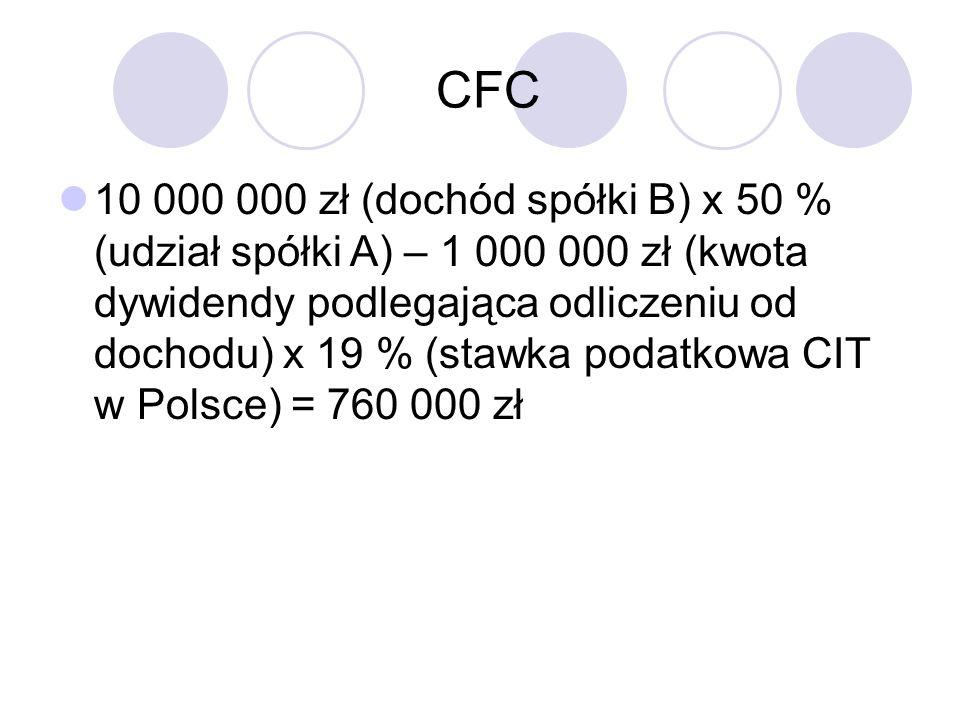 CFC 10 000 000 zł (dochód spółki B) x 50 % (udział spółki A) – 1 000 000 zł (kwota dywidendy podlegająca odliczeniu od dochodu) x 19 % (stawka podatkowa CIT w Polsce) = 760 000 zł