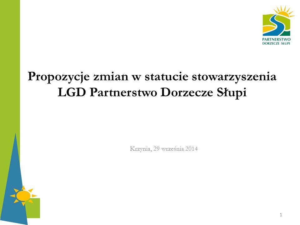 Propozycje zmian w statucie stowarzyszenia LGD Partnerstwo Dorzecze Słupi Krzynia, 29 września 2014 1