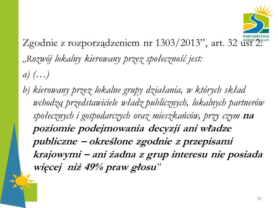 """Zgodnie z rozporządzeniem nr 1303/2013"""", art. 32 ust 2: """"R ozwój lokalny kierowany przez społeczność jest: a) (…) b) kierowany przez lokalne grupy dzi"""