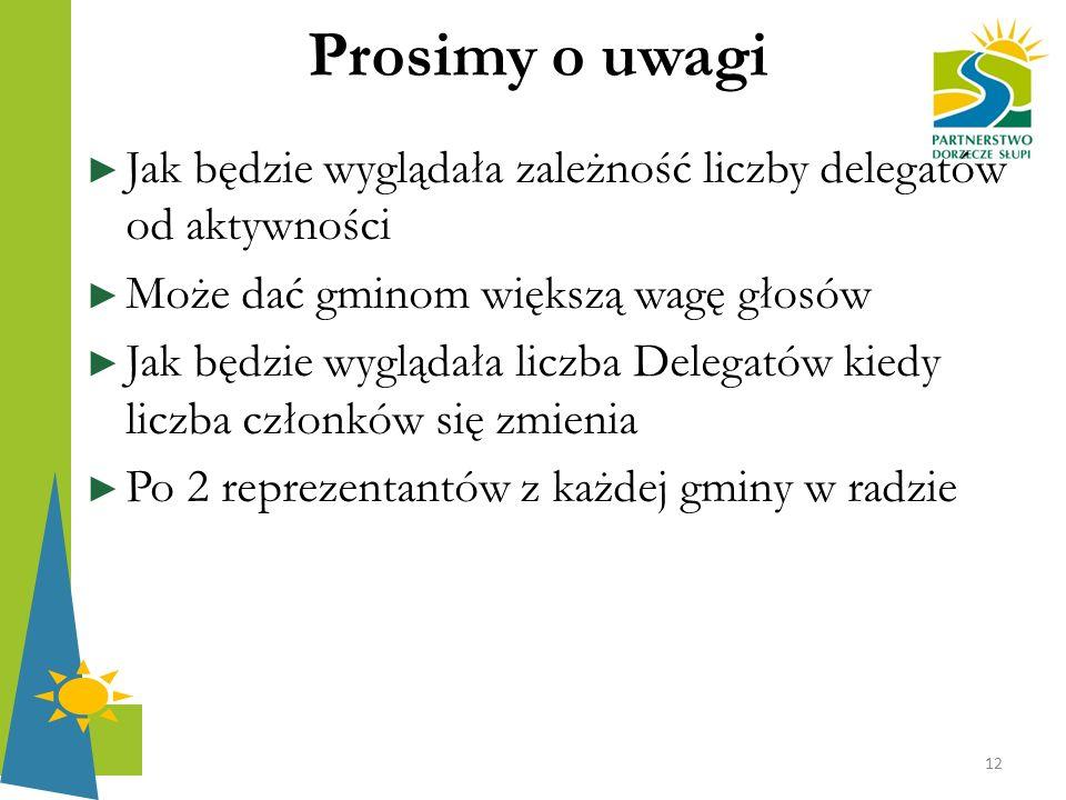 Prosimy o uwagi ► Jak będzie wyglądała zależność liczby delegatów od aktywności ► Może dać gminom większą wagę głosów ► Jak będzie wyglądała liczba De