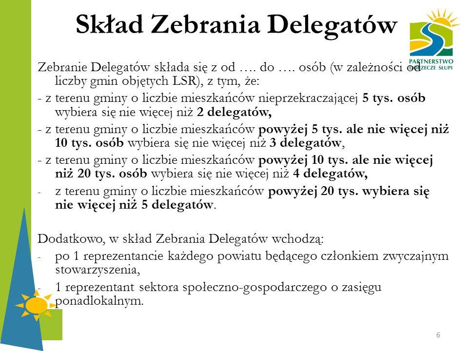 Skład Zebrania Delegatów Zebranie Delegatów składa się z od …. do …. osób (w zależności od liczby gmin objętych LSR), z tym, że: - z terenu gminy o li