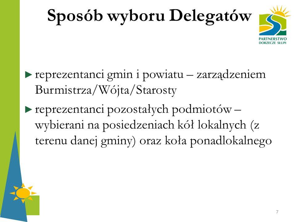 Sposób wyboru Delegatów ► reprezentanci gmin i powiatu – zarządzeniem Burmistrza/Wójta/Starosty ► reprezentanci pozostałych podmiotów – wybierani na p