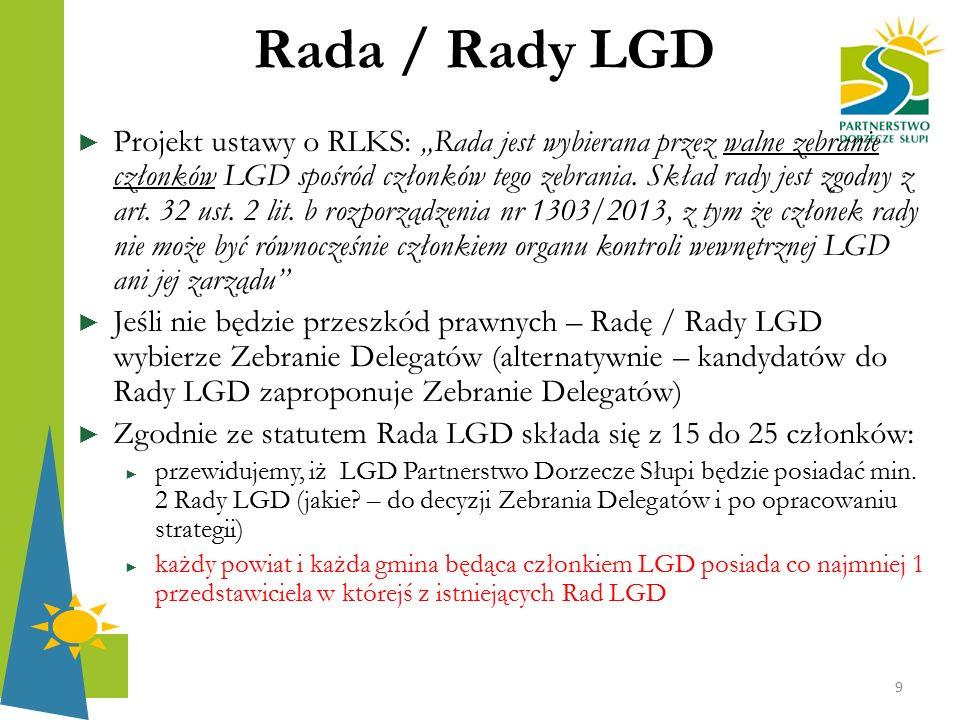 """Rada / Rady LGD ► Projekt ustawy o RLKS: """"Rada jest wybierana przez walne zebranie członków LGD spośród członków tego zebrania. Skład rady jest zgodny"""