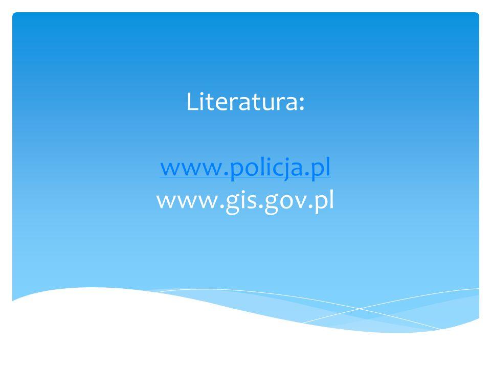 Literatura: www.policja.pl www.gis.gov.pl www.policja.pl
