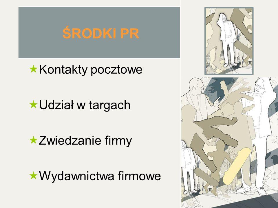ŚRODKI PR  Kontakty pocztowe  Udział w targach  Zwiedzanie firmy  Wydawnictwa firmowe