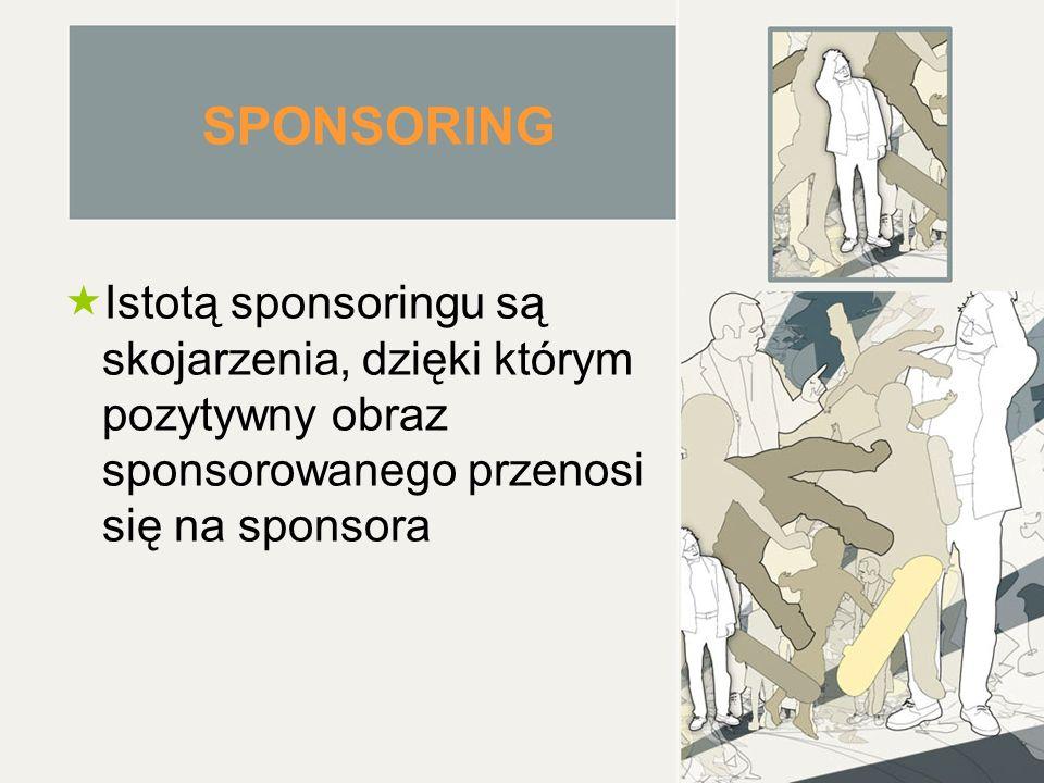 SPONSORING  Istotą sponsoringu są skojarzenia, dzięki którym pozytywny obraz sponsorowanego przenosi się na sponsora