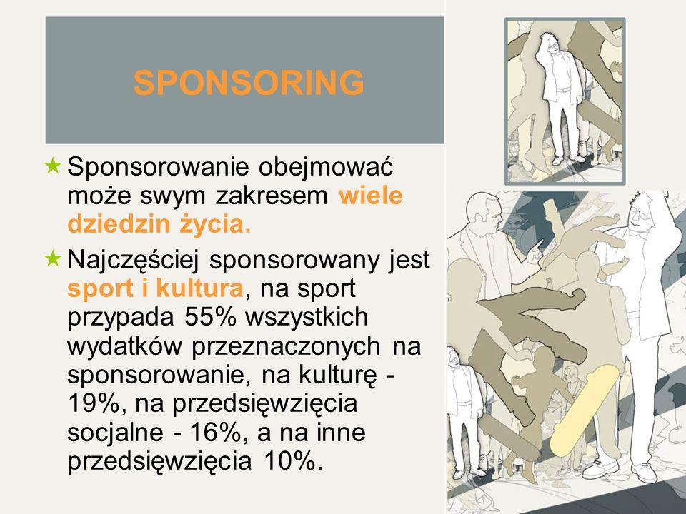 SPONSORING  Sponsorowanie obejmować może swym zakresem wiele dziedzin życia.