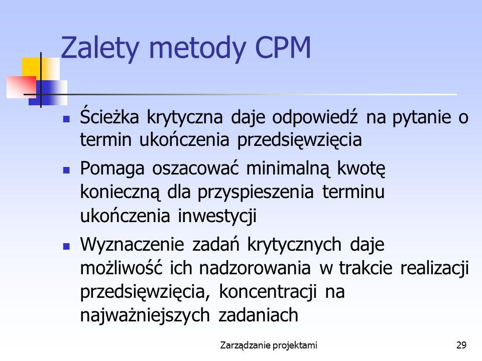 Zarządzanie projektami29 Zalety metody CPM Ścieżka krytyczna daje odpowiedź na pytanie o termin ukończenia przedsięwzięcia Pomaga oszacować minimalną