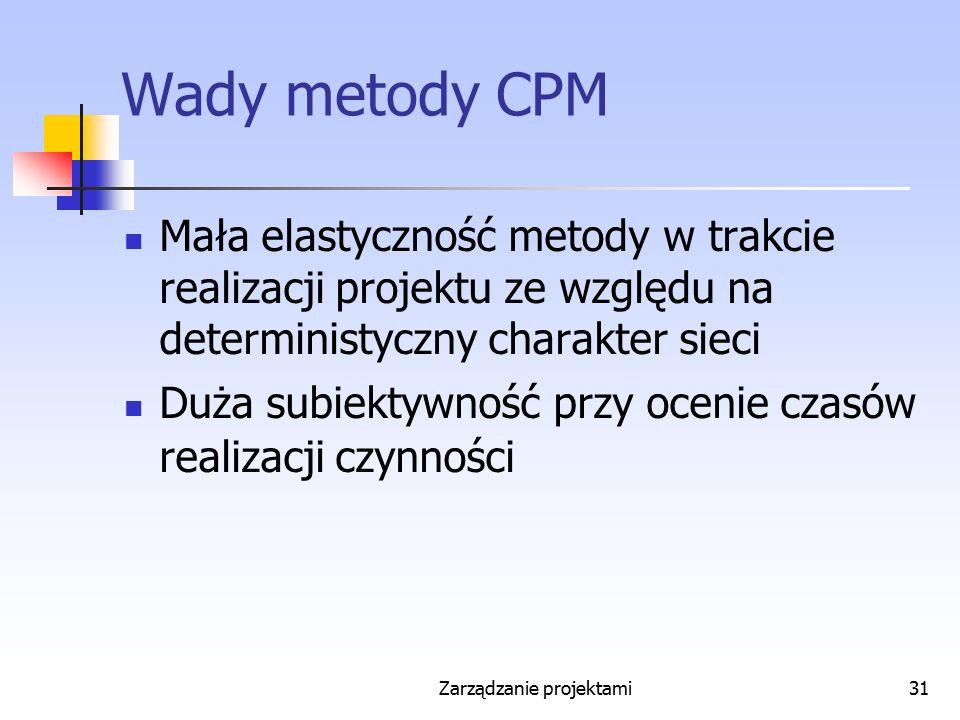 Zarządzanie projektami31 Wady metody CPM Mała elastyczność metody w trakcie realizacji projektu ze względu na deterministyczny charakter sieci Duża su