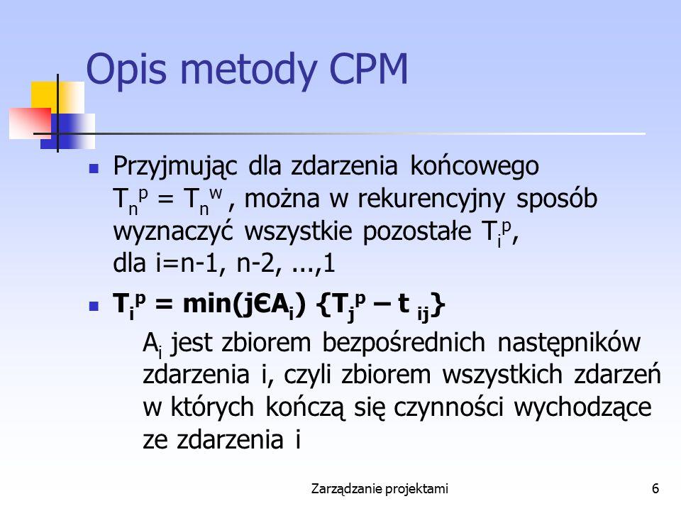 Zarządzanie projektami27 4 formuły CPM P ij w – najwcześniejszy możliwy termin rozpoczęcia czynności (i,j) P ij p – najpóźniejszy możliwy termin rozpoczęcia czynności (i,j) K ij w – najwcześniejszy możliwy termin zakończenia czynności (i,j) K ij p – najpóźniejszy możliwy termin zakończenia czynności (i,j)