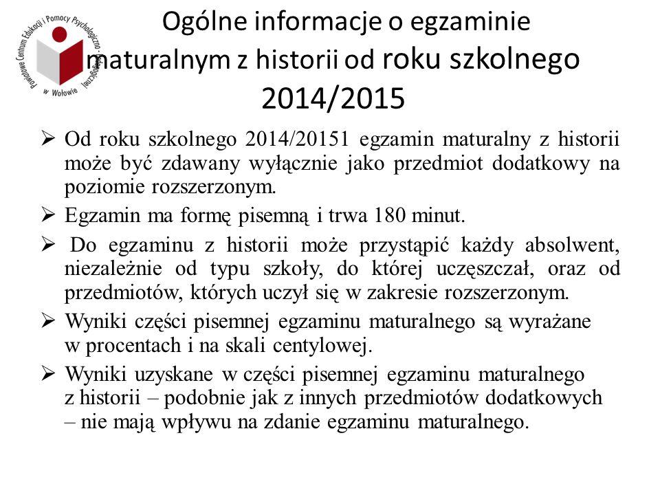 Ogólne informacje o egzaminie maturalnym z historii od roku szkolnego 2014/2015  Od roku szkolnego 2014/20151 egzamin maturalny z historii może być zdawany wyłącznie jako przedmiot dodatkowy na poziomie rozszerzonym.