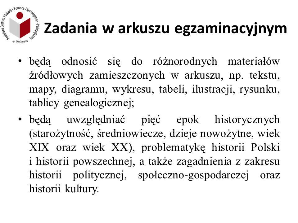 Zadania w arkuszu egzaminacyjnym będą odnosić się do różnorodnych materiałów źródłowych zamieszczonych w arkuszu, np.