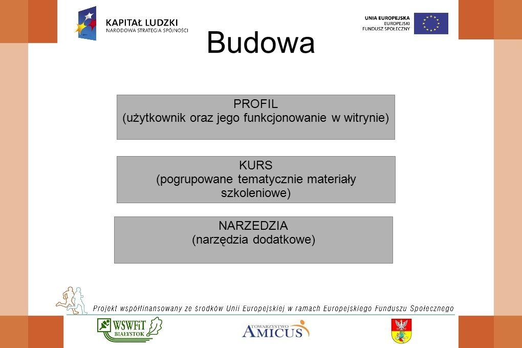 Budowa PROFIL (użytkownik oraz jego funkcjonowanie w witrynie) KURS (pogrupowane tematycznie materiały szkoleniowe) NARZEDZIA (narzędzia dodatkowe)