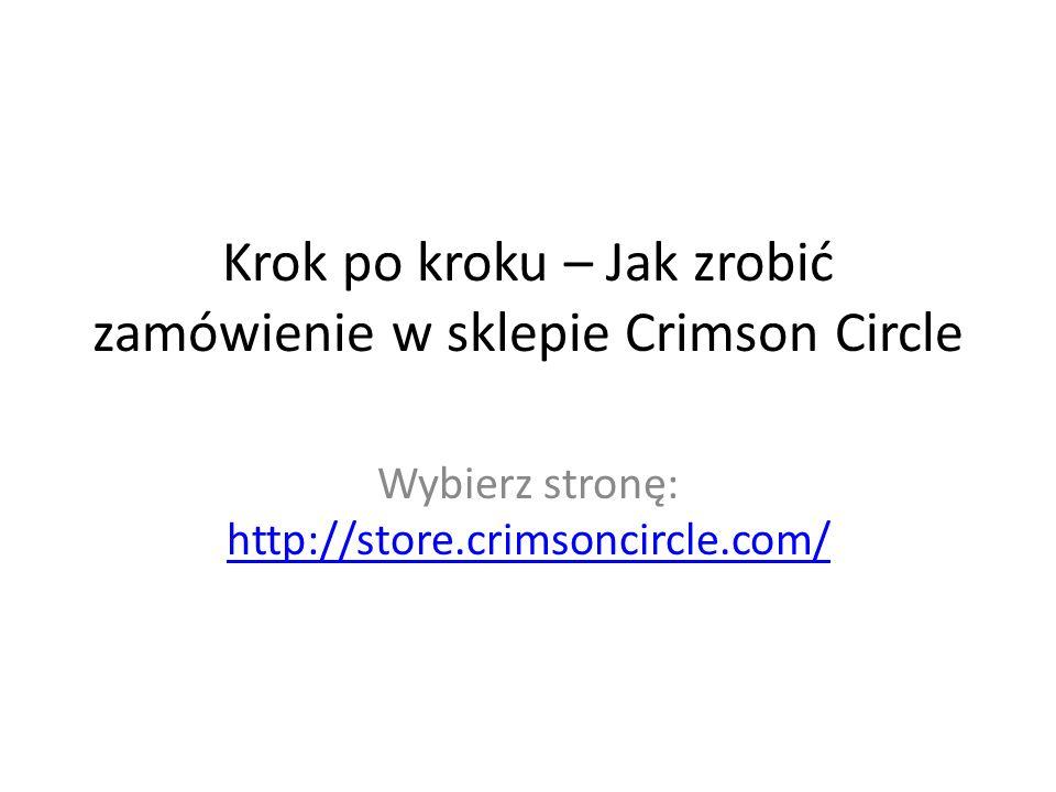 Witryna Sklepu Crimson Circle Po lewej stronie jest lista produktów Wybierz co cię interesuje Np.