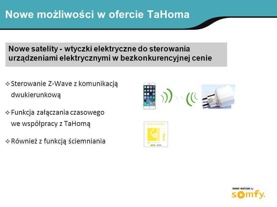 Nowe możliwości w ofercie TaHoma Nowe satelity - wtyczki elektryczne do sterowania urządzeniami elektrycznymi w bezkonkurencyjnej cenie  Sterowanie Z-Wave z komunikacją dwukierunkową  Funkcja załączania czasowego we współpracy z TaHomą  Również z funkcją ściemniania