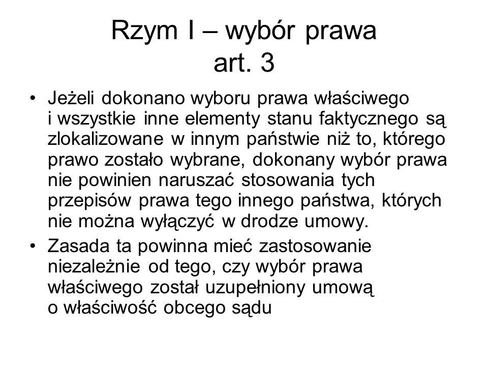 Rzym I – wybór prawa art.