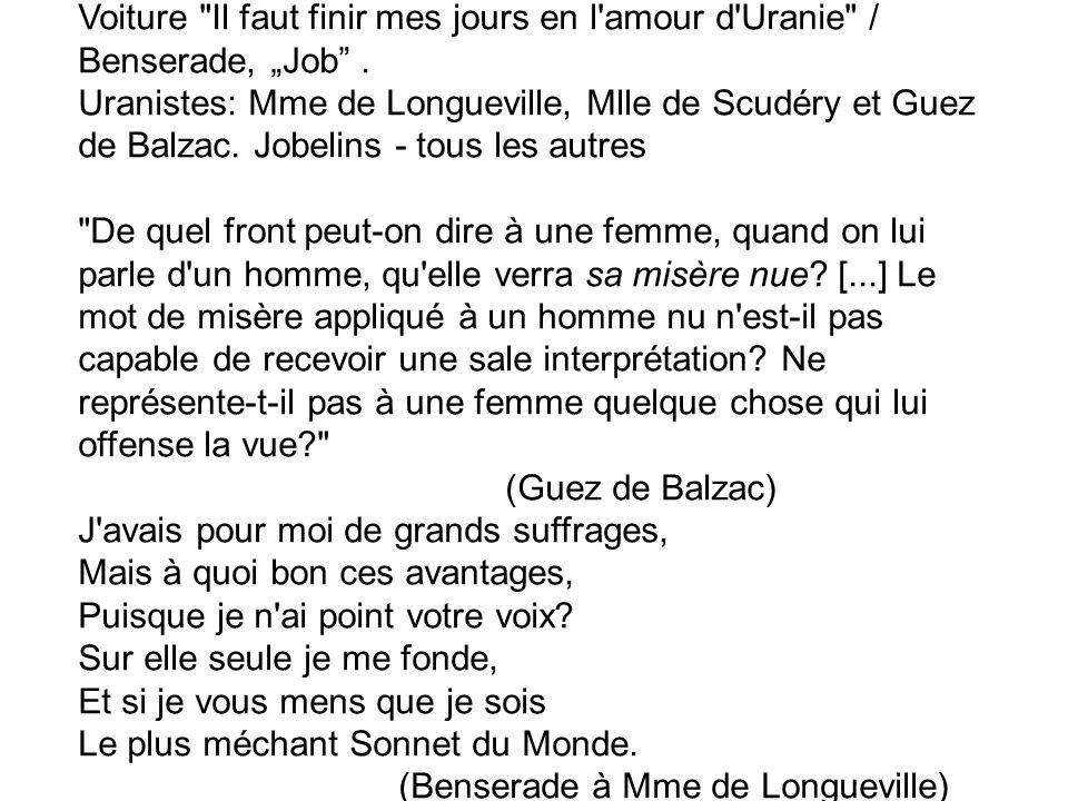 """Voiture Il faut finir mes jours en l amour d Uranie / Benserade, """"Job ."""