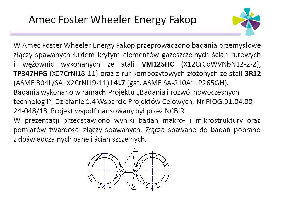 Amec Foster Wheeler Energy Fakop W Amec Foster Wheeler Energy Fakop przeprowadzono badania przemysłowe złączy spawanych łukiem krytym elementów gazoszczelnych ścian rurowych i wężownic wykonanych ze stali VM12SHC (X12CrCoWVNbN12-2-2), TP347HFG (X07CrNi18-11) oraz z rur kompozytowych złożonych ze stali 3R12 (ASME 304L/SA; X2CrNi19-11) i 4L7 (gat.
