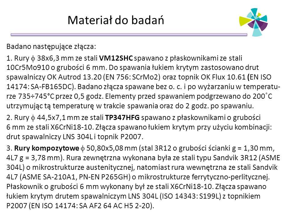 Materiał do badań Badano następujące złącza: 1. Rury  38x6,3 mm ze stali VM12SHC spawano z płaskownikami ze stali 10Cr5Mo910 o grubości 6 mm. Do spaw