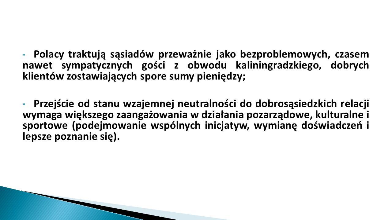 Polacy traktują sąsiadów przeważnie jako bezproblemowych, czasem nawet sympatycznych gości z obwodu kaliningradzkiego, dobrych klientów zostawiających