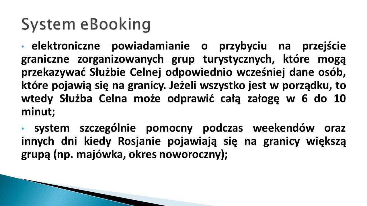 elektroniczne powiadamianie o przybyciu na przejście graniczne zorganizowanych grup turystycznych, które mogą przekazywać Służbie Celnej odpowiednio w
