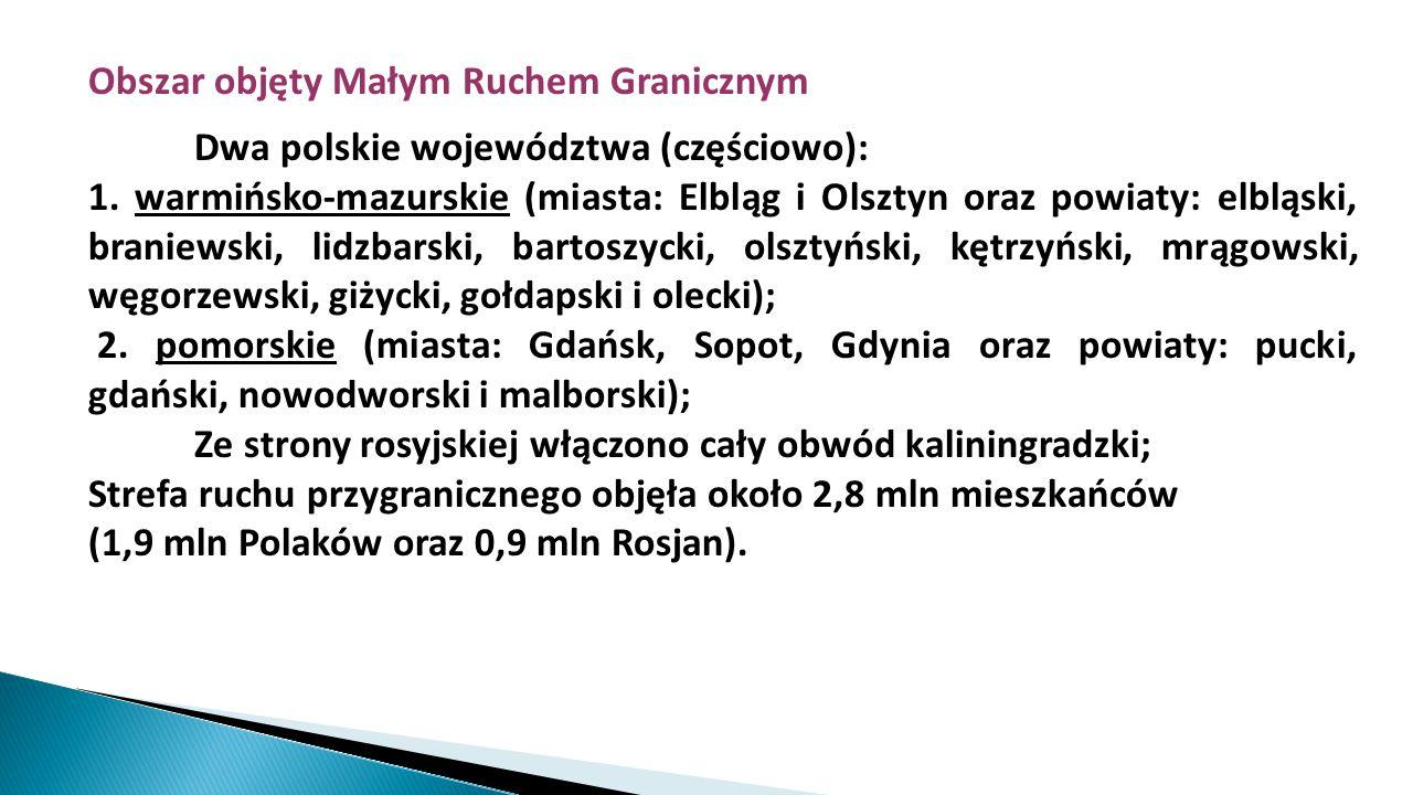 Obszar objęty Małym Ruchem Granicznym Dwa polskie województwa (częściowo): 1. warmińsko-mazurskie (miasta: Elbląg i Olsztyn oraz powiaty: elbląski, br