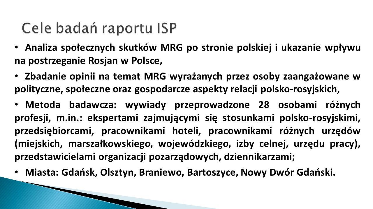 Analiza społecznych skutków MRG po stronie polskiej i ukazanie wpływu na postrzeganie Rosjan w Polsce, Zbadanie opinii na temat MRG wyrażanych przez o