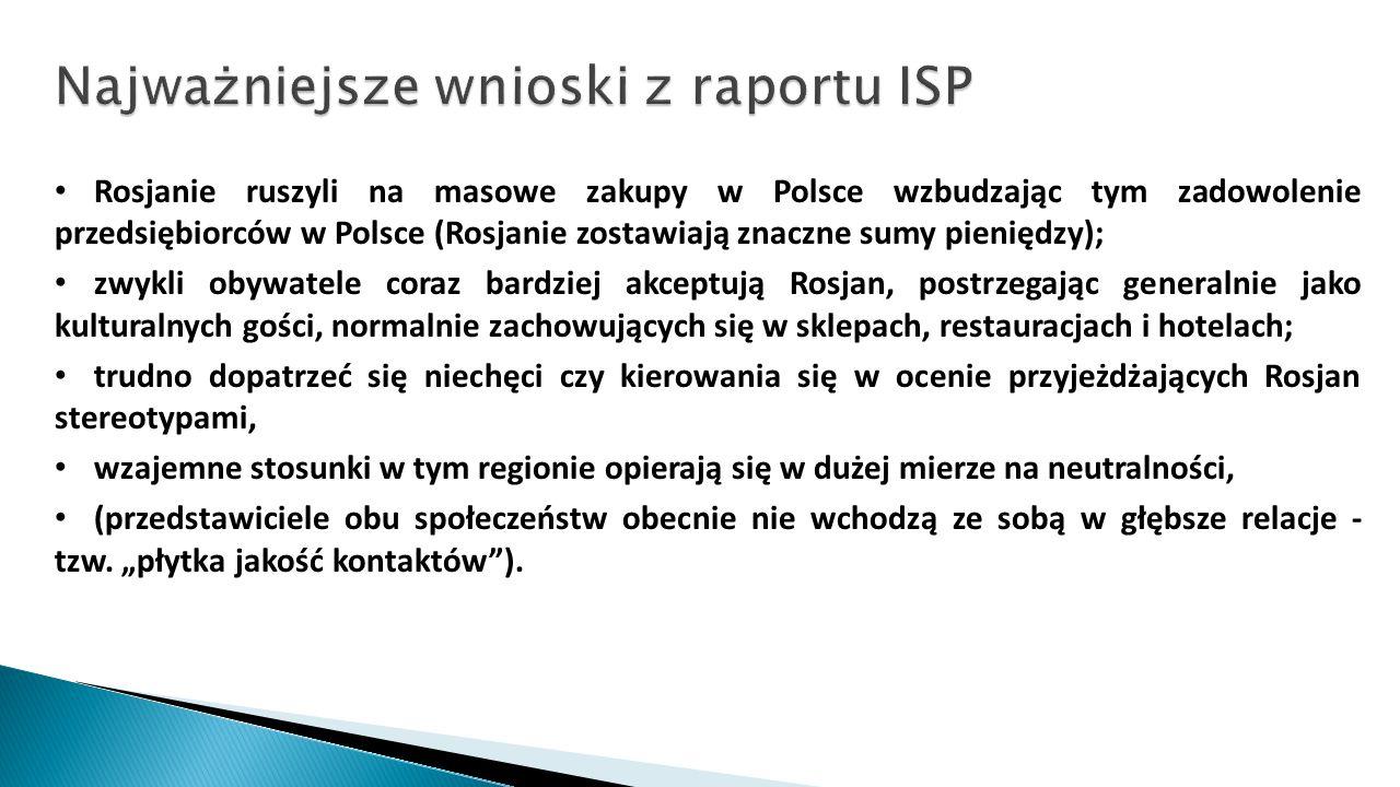 Rosjanie ruszyli na masowe zakupy w Polsce wzbudzając tym zadowolenie przedsiębiorców w Polsce (Rosjanie zostawiają znaczne sumy pieniędzy); zwykli ob