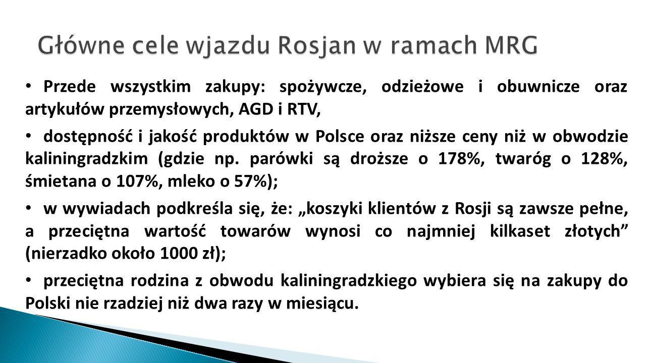 Przede wszystkim zakupy: spożywcze, odzieżowe i obuwnicze oraz artykułów przemysłowych, AGD i RTV, dostępność i jakość produktów w Polsce oraz niższe