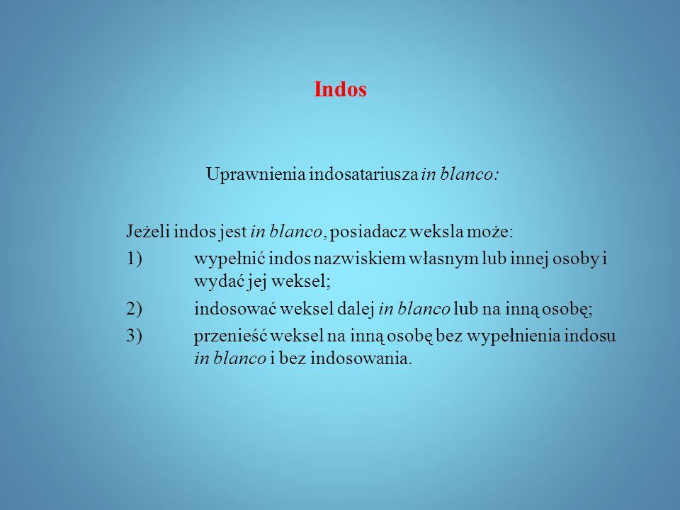 Indos Wydaje się, że właśnie od tego, że oświadczenie zbywcy zamieszczane jest na odwrocie dokumentu pochodzi nazwa tej instytucji (in dorso - na grzbiecie).