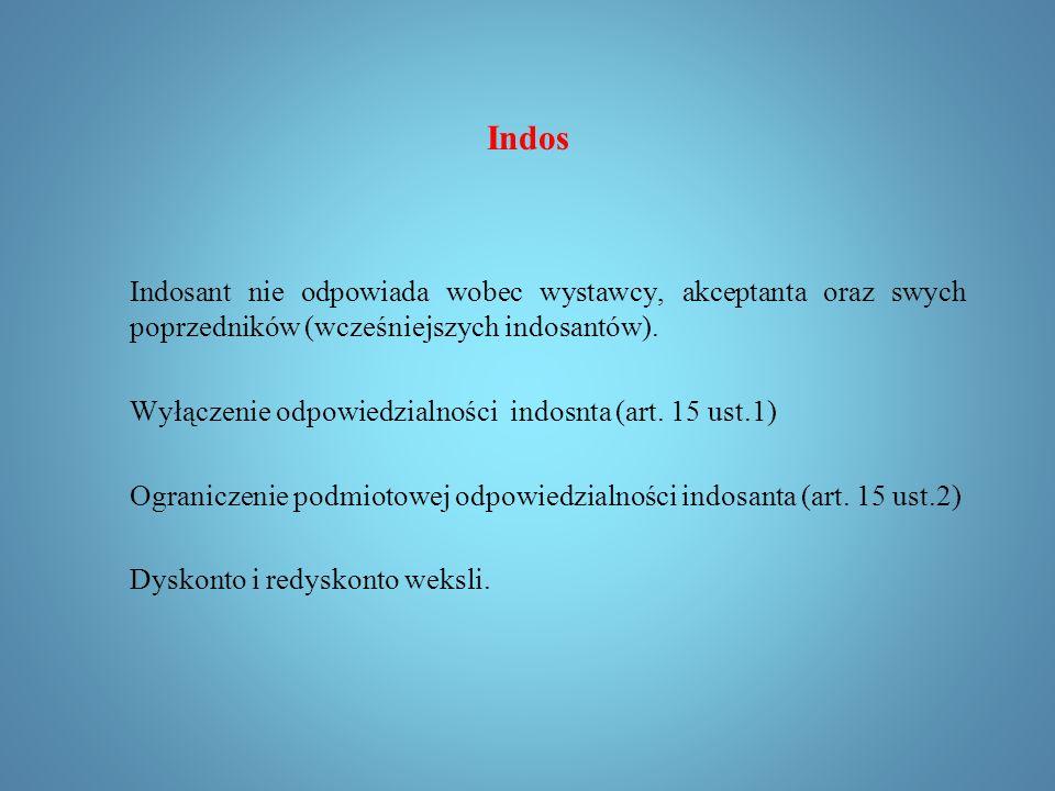 Indos Uprawnienia indosatariusza in blanco: Jeżeli indos jest in blanco, posiadacz weksla może: 1)wypełnić indos nazwiskiem własnym lub innej osoby i wydać jej weksel; 2)indosować weksel dalej in blanco lub na inną osobę; 3)przenieść weksel na inną osobę bez wypełnienia indosu in blanco i bez indosowania.