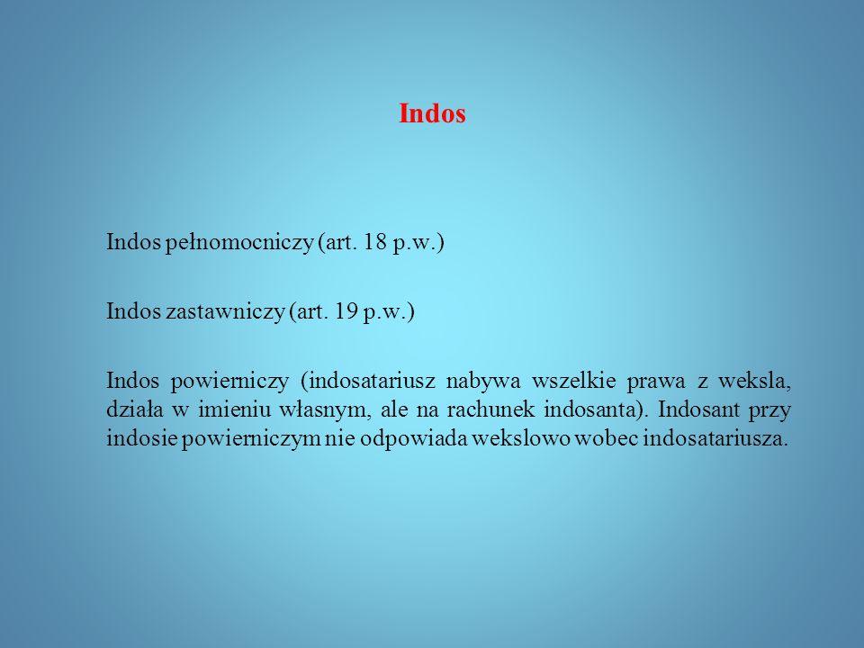 Indos Indosant nie odpowiada wobec wystawcy, akceptanta oraz swych poprzedników (wcześniejszych indosantów).