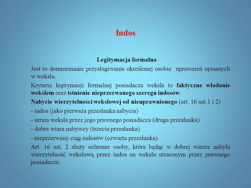 Indos Indos pełnomocniczy (art. 18 p.w.) Indos zastawniczy (art.