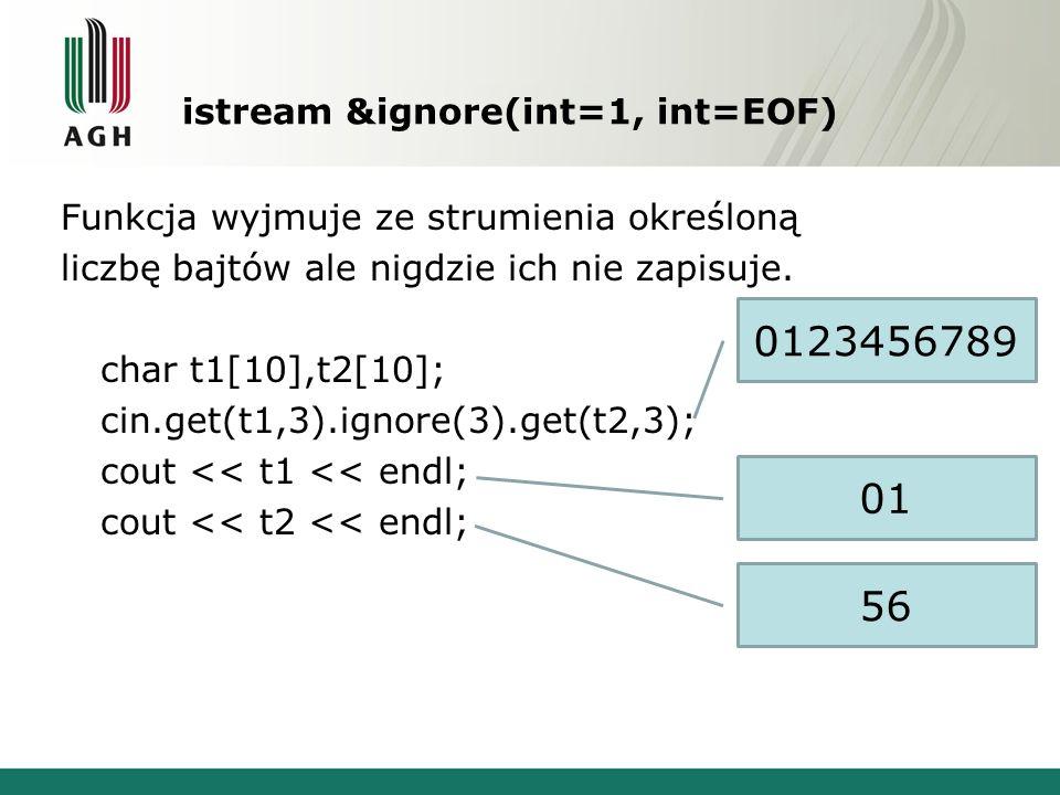istream &ignore(int=1, int=EOF) Funkcja wyjmuje ze strumienia określoną liczbę bajtów ale nigdzie ich nie zapisuje.