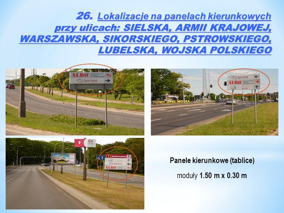 Panele kierunkowe (tablice) moduły 1.50 m x 0.30 m 26. Lokalizacje na panelach kierunkowych przy ulicach: SIELSKA, ARMII KRAJOWEJ, WARSZAWSKA, SIKORSK