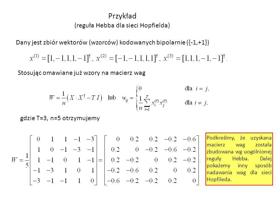 Przykład (reguła Hebba dla sieci Hopfielda) Dany jest zbiór wektorów (wzorców) kodowanych bipolarnie ({-1,+1}) Stosując omawiane już wzory na macierz
