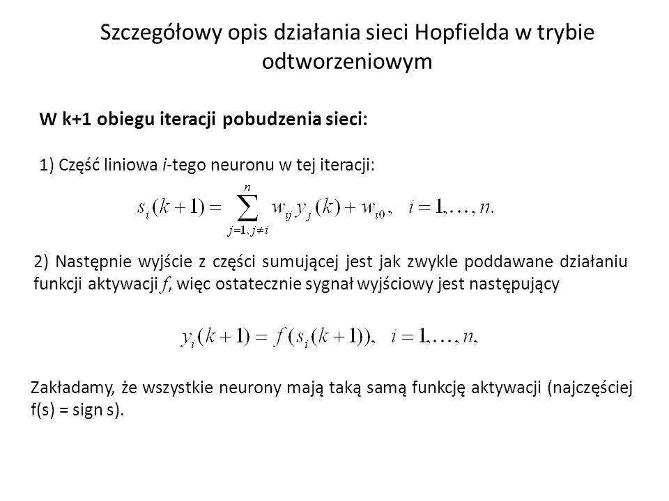 Szczegółowy opis działania sieci Hopfielda w trybie odtworzeniowym W k+1 obiegu iteracji pobudzenia sieci: 1) Część liniowa i-tego neuronu w tej itera