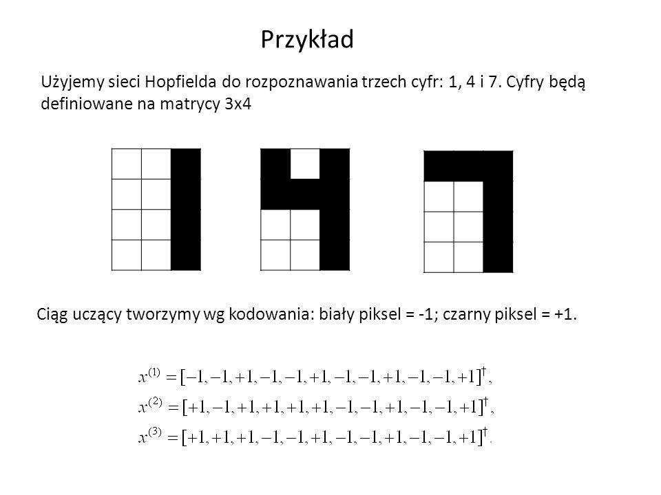 Przykład Użyjemy sieci Hopfielda do rozpoznawania trzech cyfr: 1, 4 i 7. Cyfry będą definiowane na matrycy 3x4 Ciąg uczący tworzymy wg kodowania: biał
